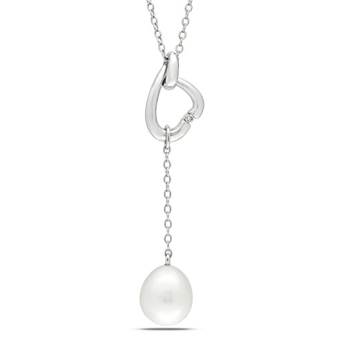 Sterling Silver 0.01 CT TDW Diamond Freshwater White Pearl Fashion Pendant (G-H, I2-I3)