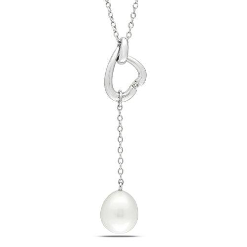 Sterling Silver 0.01 CT TDW Diamond Freshwater White Pearl Fashion Pendant (G-H, I2-I3)