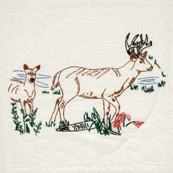 Bulk Buy: Fairway Needle Craft Stamped Quilt Blocks 18'X18' 6/Pkg Deer (2-Pack)