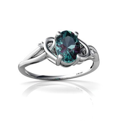 14K White Gold Oval Created Alexandrite Ring Size 5
