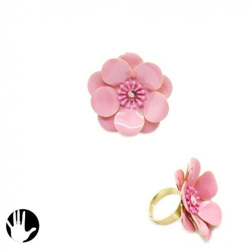 Sg Paris Fashion Jewellery Ring Adjustable Woman Painted Metal Pink Flower