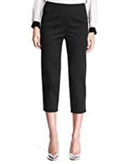 M&S Collection Cotton Rich Tapered Leg Cropped Trousers