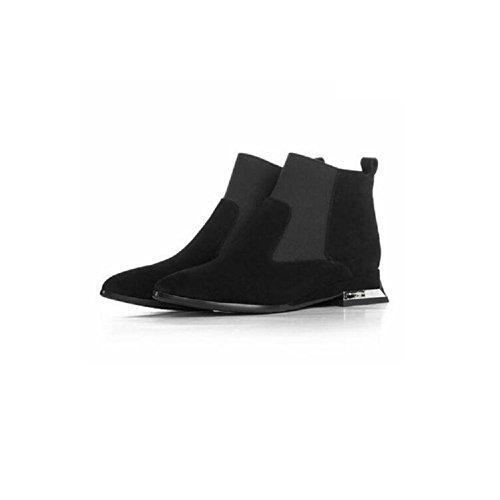 YYH Scarpe da donna giornaliero punta manica breve stivali camoscio Casual stivaletti alla moda tagliare con vera pelle . black . 36