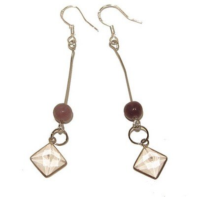 Lepidolite Earrings 02 Dangle Quartz Pyramid Purple Clear Crystal Healing Gemstone 2.7