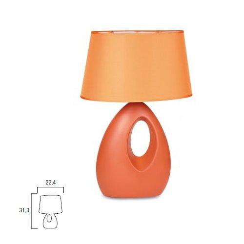 Lampada da tavolo moderno lume in ceramica arancio comodino 22x31