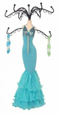 Aqua Blue Sparkling Dress Form Jewelry Stand Tree Mannequin 15