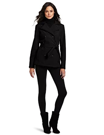 Tommy Hilfiger Women's Soft Shell Belted Pea Coat, Black, Small