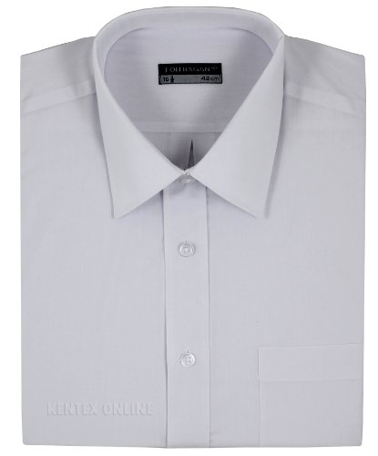 Mens Formal Shirts Long Sleeve Stylish Plain Coloured Big Sizes 3XL 4XL 5XL 6XL (3XL (19-19.5) 55, White)