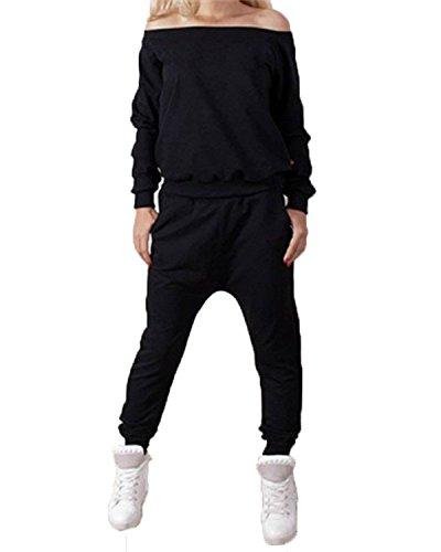 ZANZEA Donna Felpa Pantaloni Sweatshirt Hoody Jogging Giacca Fitness Sport Completo Nero IT 36/ASIA S