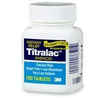 3M Fast Relief Titralac Antacid Spearmint Flavor 100 Tablets