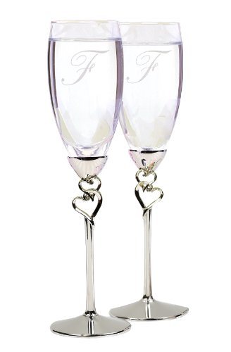 Hortense B. Hewitt Wedding Accessories Entwined Hearts Silver-Plated Champagne Flutes, Set of 2