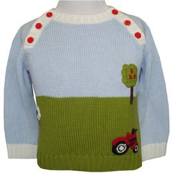 Knitting Pattern Tractor Jumper : Powell Craft Hand Knitted Red Tractor and Countryside design Farm yard Jumper...