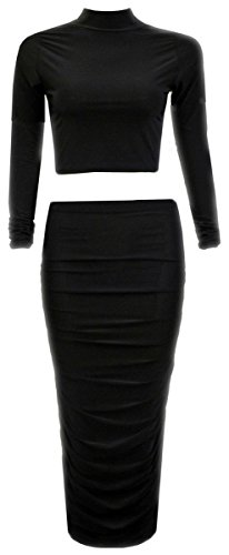 Womens Ladies Celeb Kim Kardashian Polo Top Increspato Gonna Midi Co-Ord Set Black 42 EU