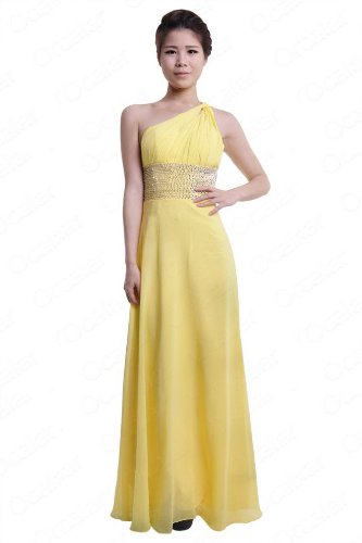 Moonar Chiffon One Shoulder Ankle-length Prom Formal Gown Party Bridesmaid Wedding Dress Yellow Size 8