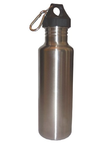 Silver 27oz Wide Mouth Stainless Steel Reusable Water Bottle w/ Hiking Clip