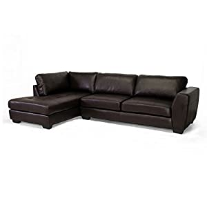 Baxton studio orland bonded leather sectional for Bonded leather chaise