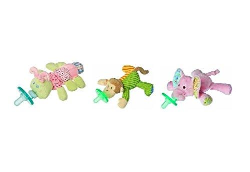 WubbaNub Infant Plush Pacifier - Limited Edition Set (Cutsie Caterpillar, Mango Monkey and Ella Bella Elephant)