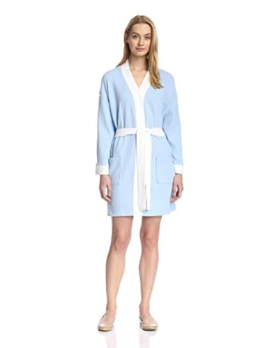 Aegean Apparel Women's Short Waffle Robe with Contrast Trim