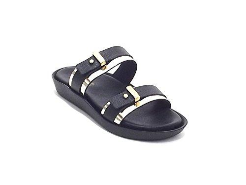 Soldini donna, modello 9434, sandalo in pelle, colore nero e oro
