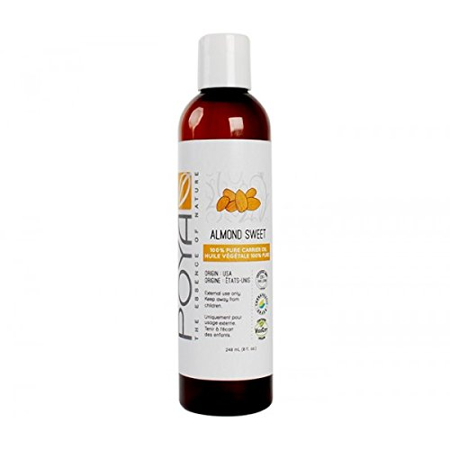 Sweet Almond Oil - 8 oz. Cold-Pressed Natural Oil for Hair, Skin & Face, Aromatherapy & Cosmetics by Poya Organics (New Direction Products compare prices)