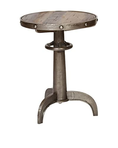 Prima Design Source Metal & Wood Accent Table, Antiqued Pewter
