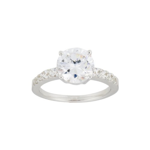 Sterling Silver Cubic Zirconia Ladies Ring, (6.02 cttw), Size 6
