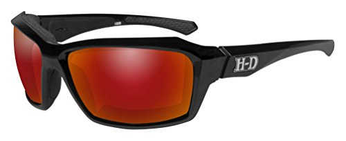 Harley-Davidson Men's Cannon Gasket Sunglasses, Red Mirror Lenses HACNN11 - Harley-Davidson