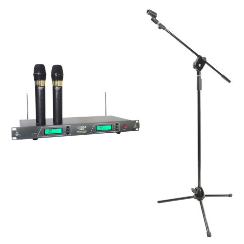 Pyle Mic And Stand Package - Pdwm2550 19'' Rack Mount Dual Vhf Wireless Rechargeable Handheld Microphone System - Pmks3 Tripod Microphone Stand W/ Extending Boom