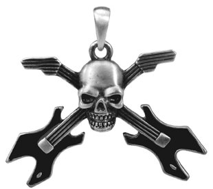Skull Guitar Pendant Collectible Medallion Necklace