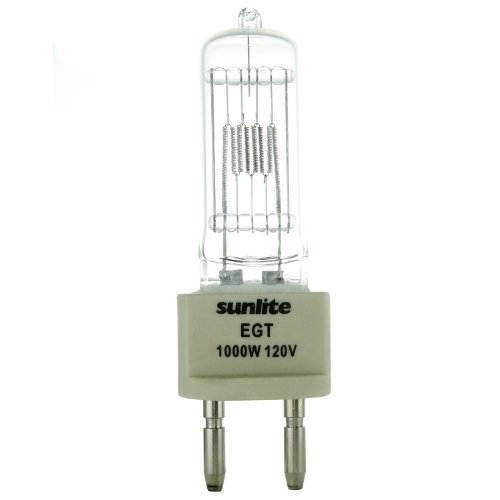 Sunlite EGT 1000W/T7/120V/CL/G22 1000-watt 120-volt Bi-Pin Based Stage and Studio T7 Bulb, Clear