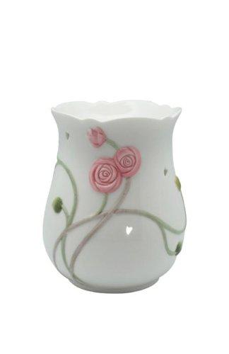 4.25 Inch Glazed White Art Nouveau Scrollwork Rose Coffee Warmer