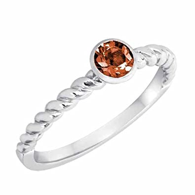 Ryan Jonathan Garnet Braided Stackable Solitaire Ring in Sterling Silver