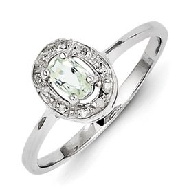 Genuine IceCarats Designer Jewelry Gift Sterling Silver Rhodium Green Amethyst & Diamond Ring Size 8.00
