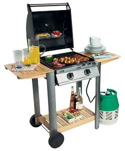 Sicily 2 Burner hooded BBQ - Wood and metal KS0998