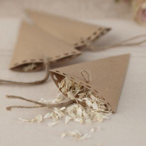 Ginger Ray Vintage Affair Kraft Wedding Confetti Cones, Brown