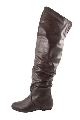 Nature Breeze Vickie Hi Knee High Boots,Vickie-Hi6.0 Brown Pu 7