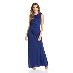 BCBGMAXAZRIA Women's Simone Shoulder Draped Cut Out Dress, Orient Blue, Large