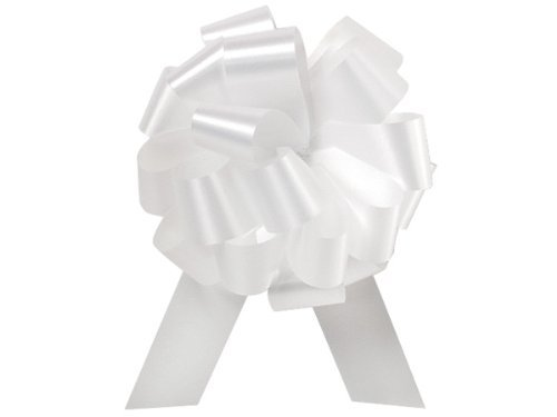 """WHITE Pull String Bows - 5.5"""" Wide 20 Loops (1 & 7/8"""" ribbon) Set of 10"""