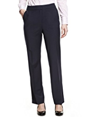 M&S Collection New Wool Rich Angled Seam Straight leg Trousers