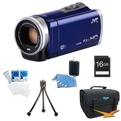 JVC GZ-EX310AUS - HD Everio Camcorder 40x Zoom f1.8 (Blue) with 16GB Bundle