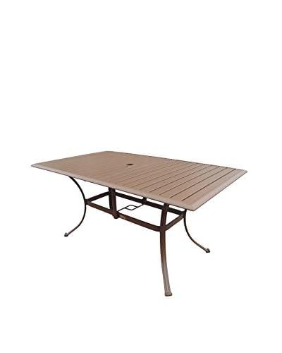 Panama Jack Island Breeze Slatted Aluminum Rectangular Dining Table With Umbrella Hole, Espresso