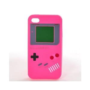 """AIO étui en Silicone """"GAMEBOY"""" Housse Coque pour Apple iPhone 4 Rose Vif"""
