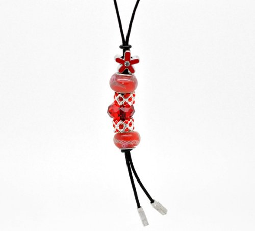 Divine Beads Handmade Real Leather Lariat Charm Necklace Complete With Co-ordinating Red Beads fits Pandora, Biagi, Tedora, Chamilia, Bacio, Troll and other European style bracelets
