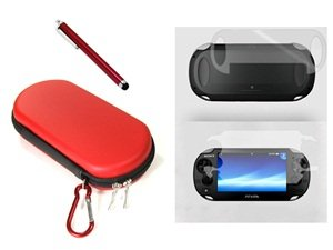 Cosmos ® 3 Set Red Color Hard Travel Case Cover Bag With Carabiner Memory/Game Card Pocket For Playstation Ps Vita + Front & Back Lcd Screen Protector + Red Stylus Universal Touch Screen Pen For Sony Ps Vita,Kindle Fire Hd + Free Cosmos Brand Lcd Touch Sc