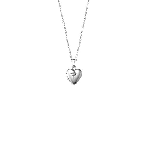 Children's-Baby Sterling Silver Diamond Heart Locket Necklace, 13