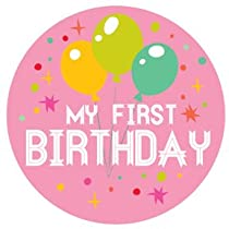 Lucy Darling Shop First Birthday Sticker - Baby Girl - Pink - Balloon