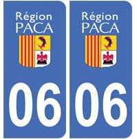 2-autocollants-06-Alpes-Maritimes-PACA-plaque-immatriculation-dpartement-auto-06-angles-arrondis