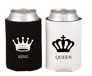 Anniversary Gift - King/Queen Koozies - Set of 2- Insulated Foam Coozies- Beautiful Graphics- Sturdy & Collapsible Cozy- For Bottles of Beer/ Soda/ Water- Best Gift for Couples/ Newlyweds (CAN)