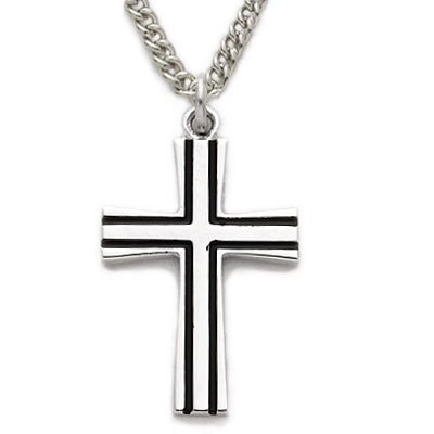 Sterling Silver Cross Necklace in a Flared Design