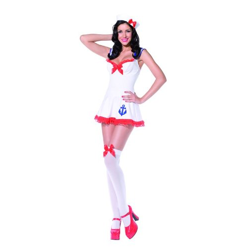 Smiffys Sexy Retro Pin Up Girl Outfit Adult Sailor Halloween Costume Medium